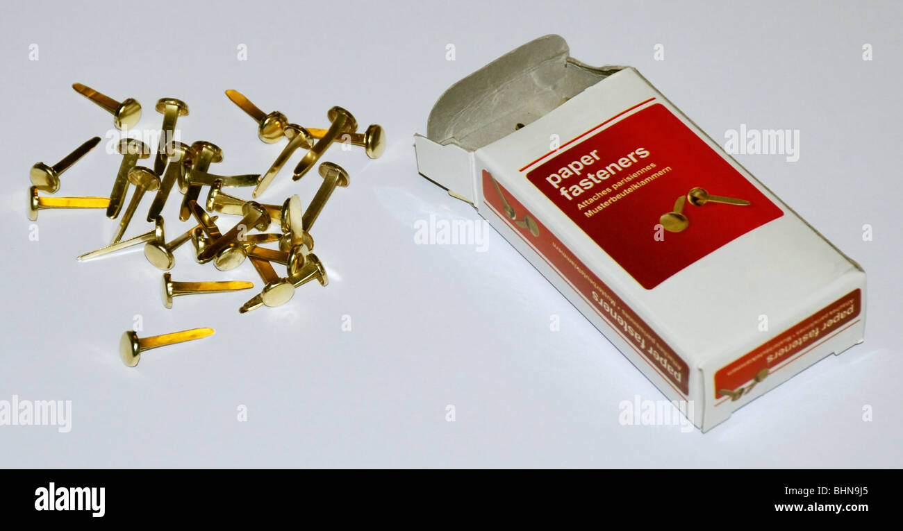 office, office supplies, paper fasteners, paper fasteners with box, Additional-Rights-Clearance-Info-Not-Available Stock Photo