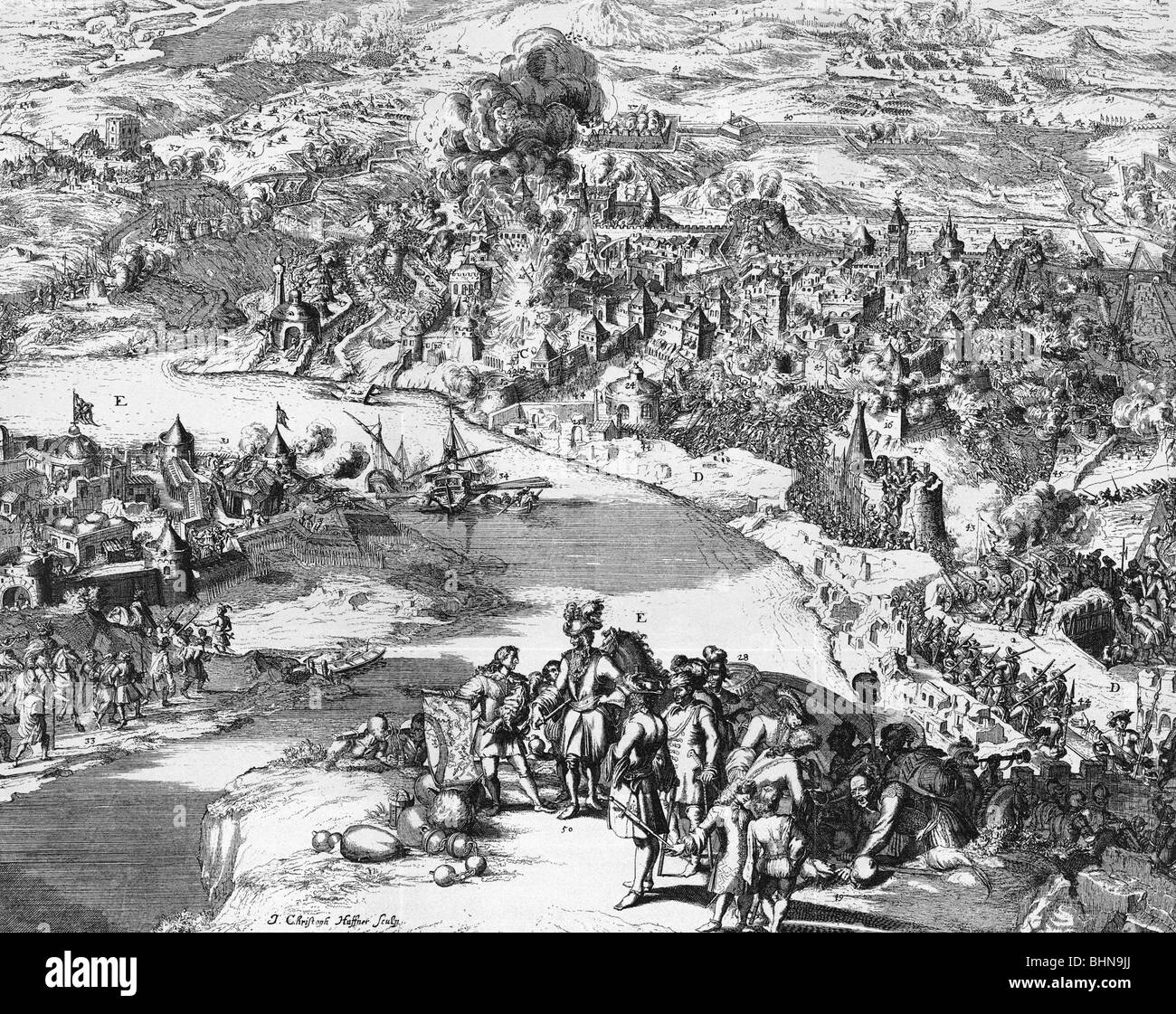 events, Great Turkish War 1683 - 1699, Siege of Ofen (Buda) 1684 - 1686,  contemporary copper engraving by J. Christian Haffner, imperial troops  under ...