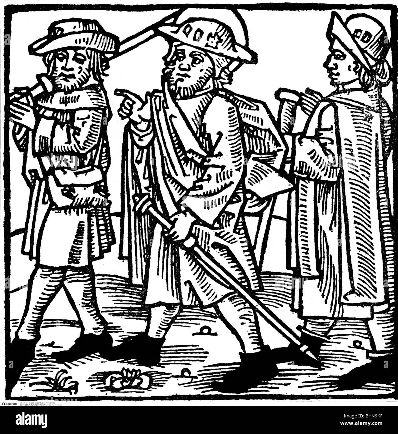 religion, pilgrimage, pilgrims on the way, woodcut of 'Passionael efte dat levent of hyllygen', 1499, Additional - Stock Image