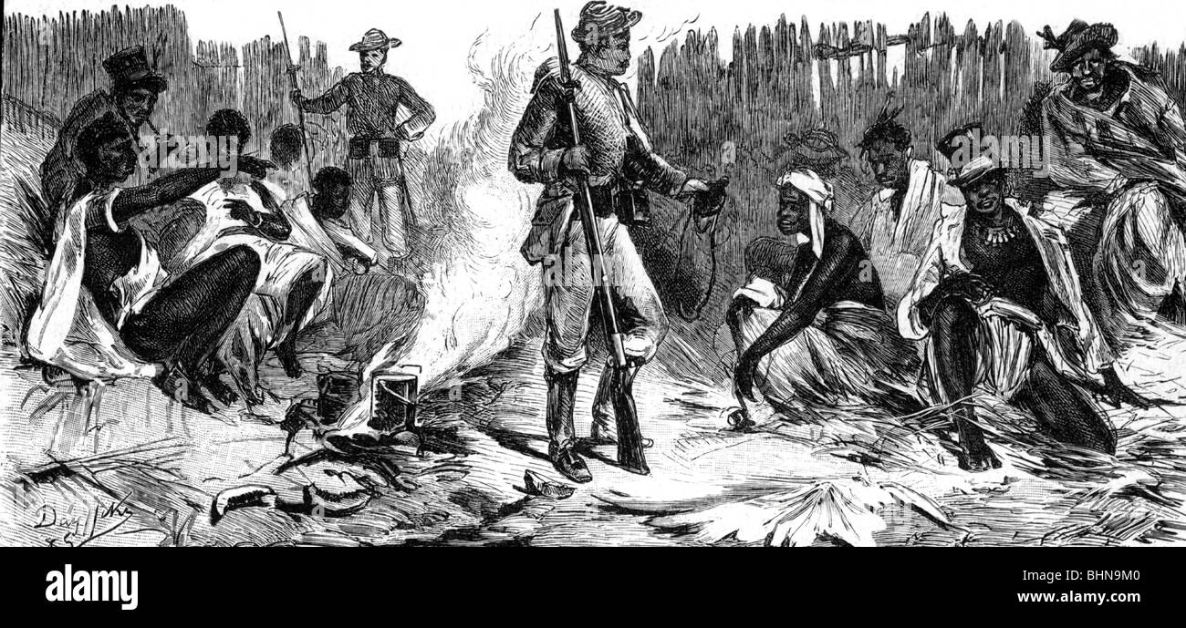 geography / travel, Cameroon, conquest by the Germans 1884, charge of Yosstown, 20.12.1884, captured inhabitants, - Stock Image