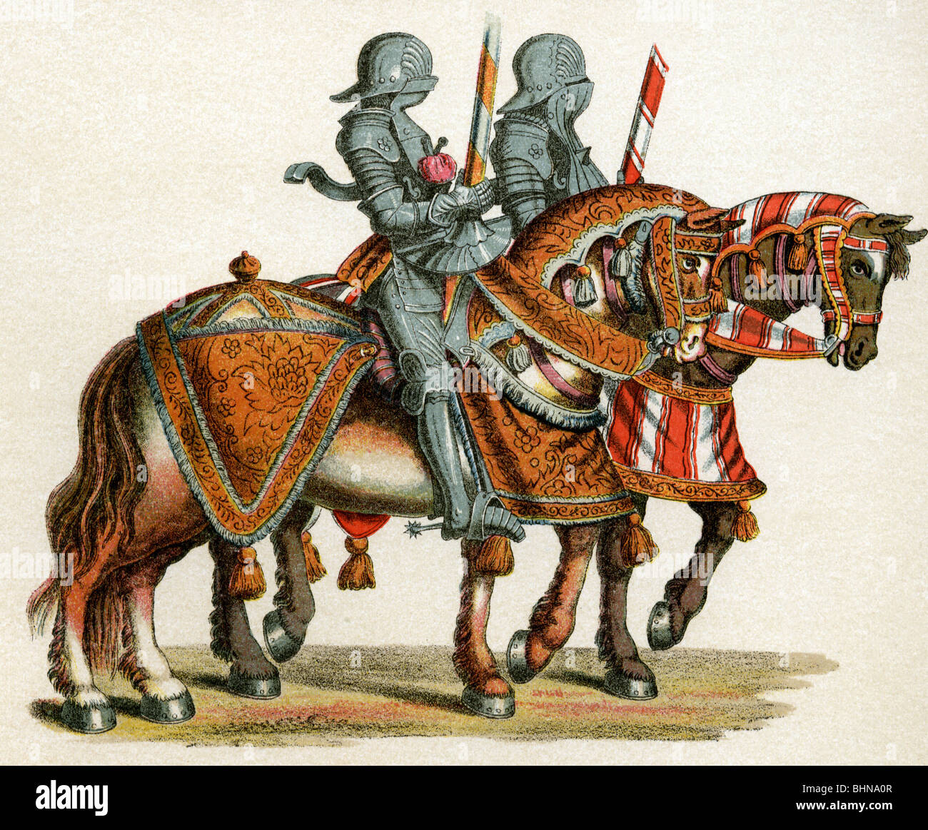middle ages, knights, riding to tournament, coloured lithograph after woodcuts by Hans Burgkmair to 'Freydal' - Stock Image