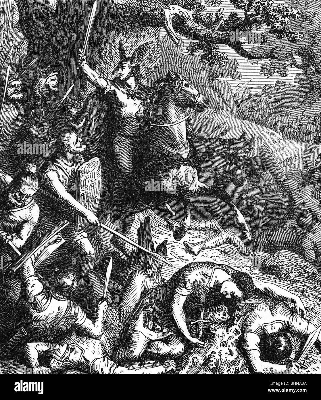 events, Cimbrian War 113 - 101 BC, Cimbri and Teutons in combat with the Romans, wood engraving after drawing by - Stock Image