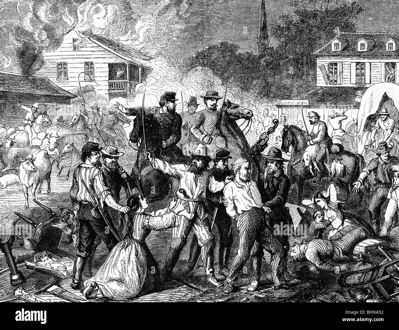 geography / travel, USA, American Civil War 1861 - 1865, Morgan's Raid,  11.6.- 26.7.1863, Confederate soldiers looting a village, wood engraving,  1863, ...