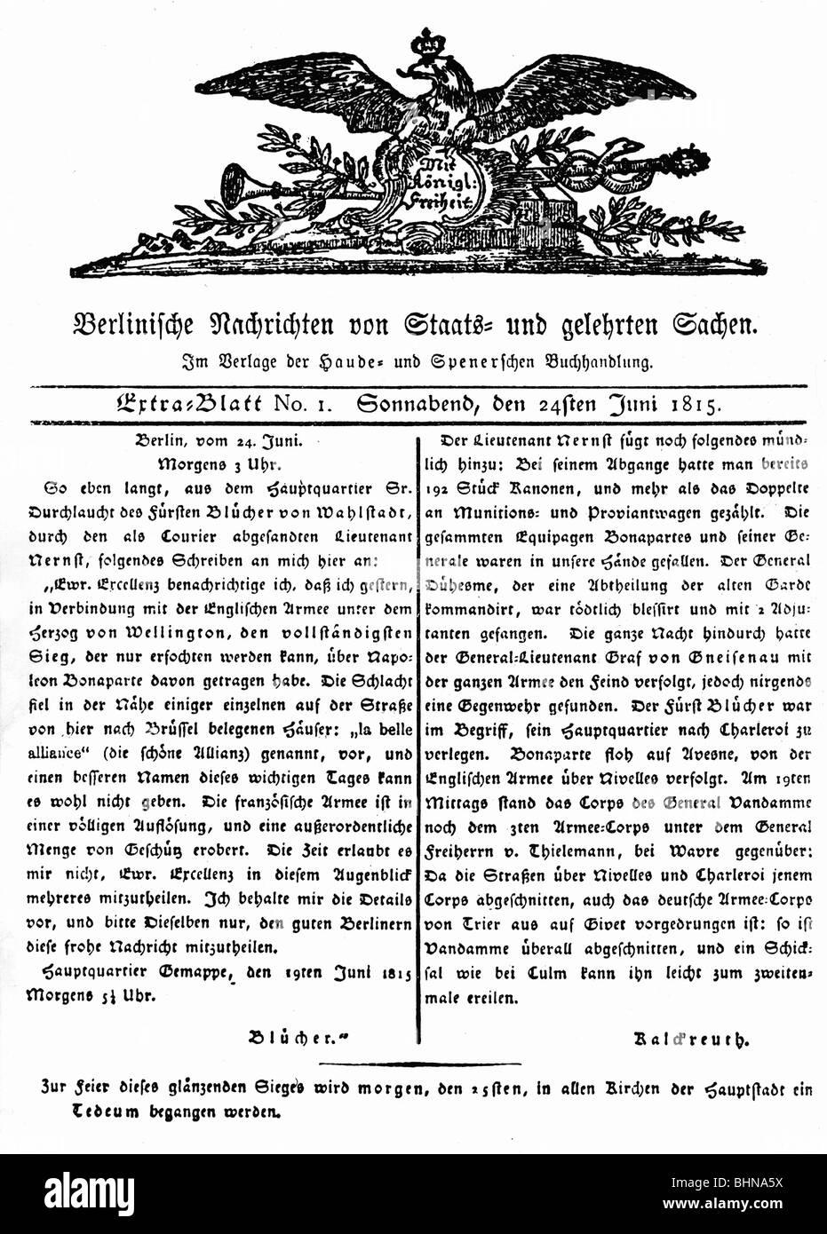 press / media, magazines, / journals, 'Berlinische Nachrichten von Staats- und gelehrten Sachen', special - Stock Image