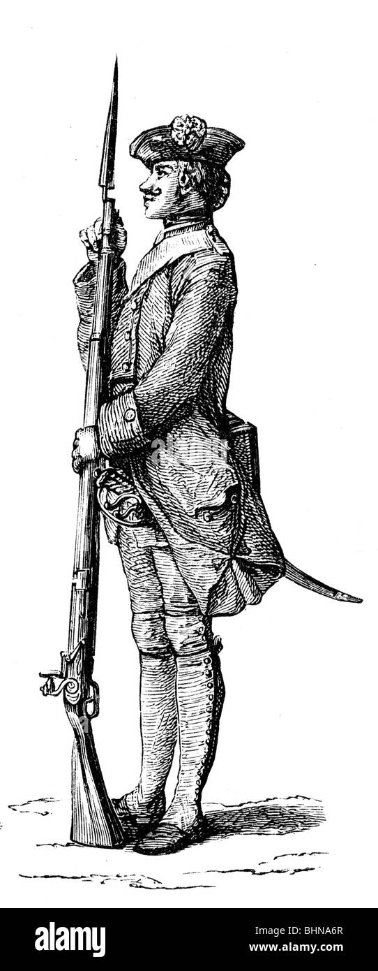 military, France, infantry, exercise, attaching the bayonet, after copper engraving by Gravelot, 1766, Additional Stock Photo