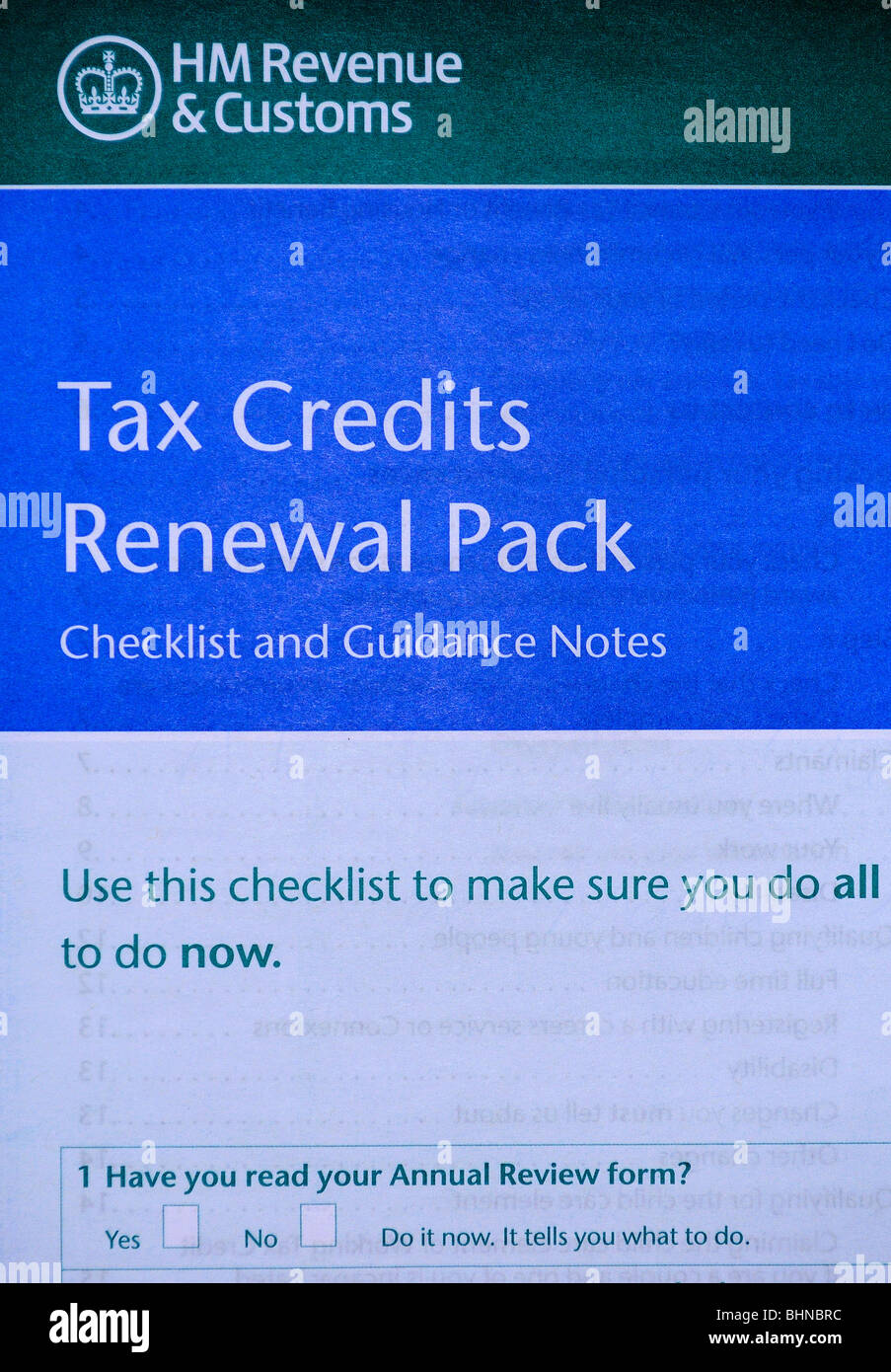 a tax credits renewal pack - Stock Image