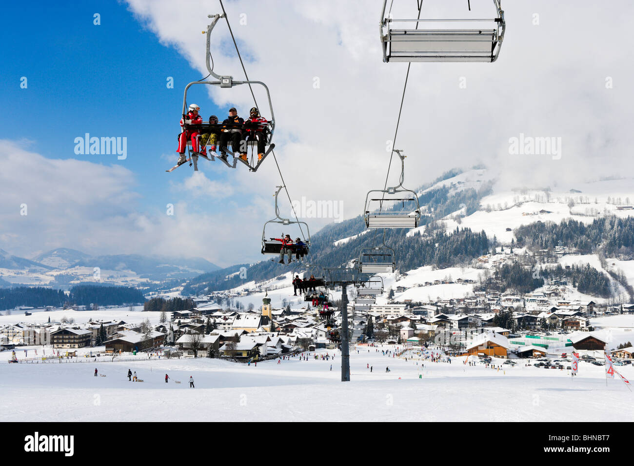 View over the resort from the nursery slopes, Westendorf, Tyrol, Austria - Stock Image