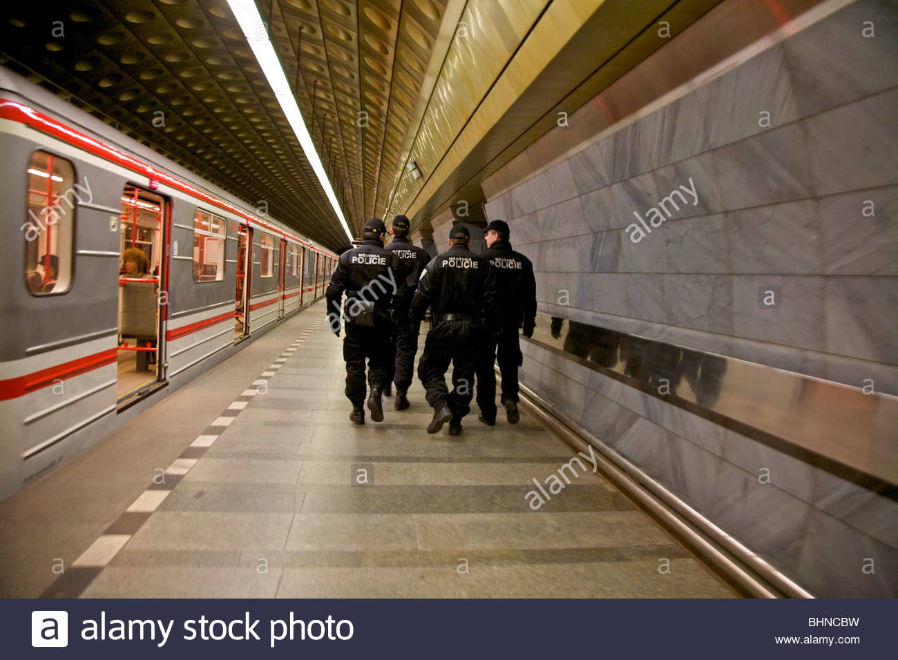 Prague Police in Metro Station, Praha, Czech Republic. - Stock Image