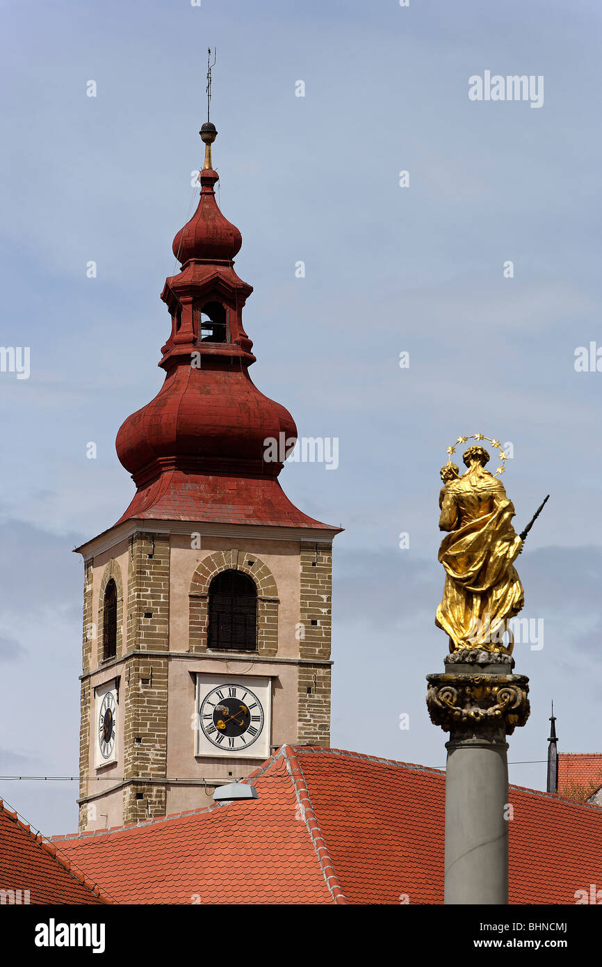 Ptuj,old town,Town Tower,Plague Monument,Slovenia Stock Photo