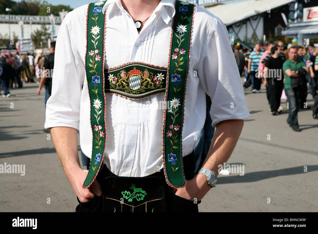 Bavarian traditional costume at Oktoberfest - Stock Image