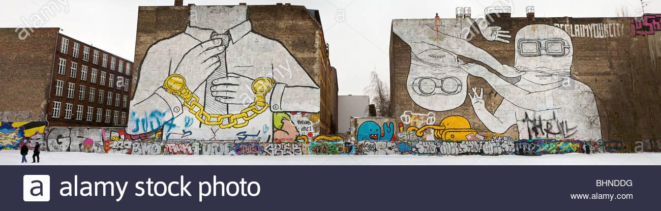 Mural on firewall in Kreuzberg, Berlin. Painted by Blu, - Stock Image