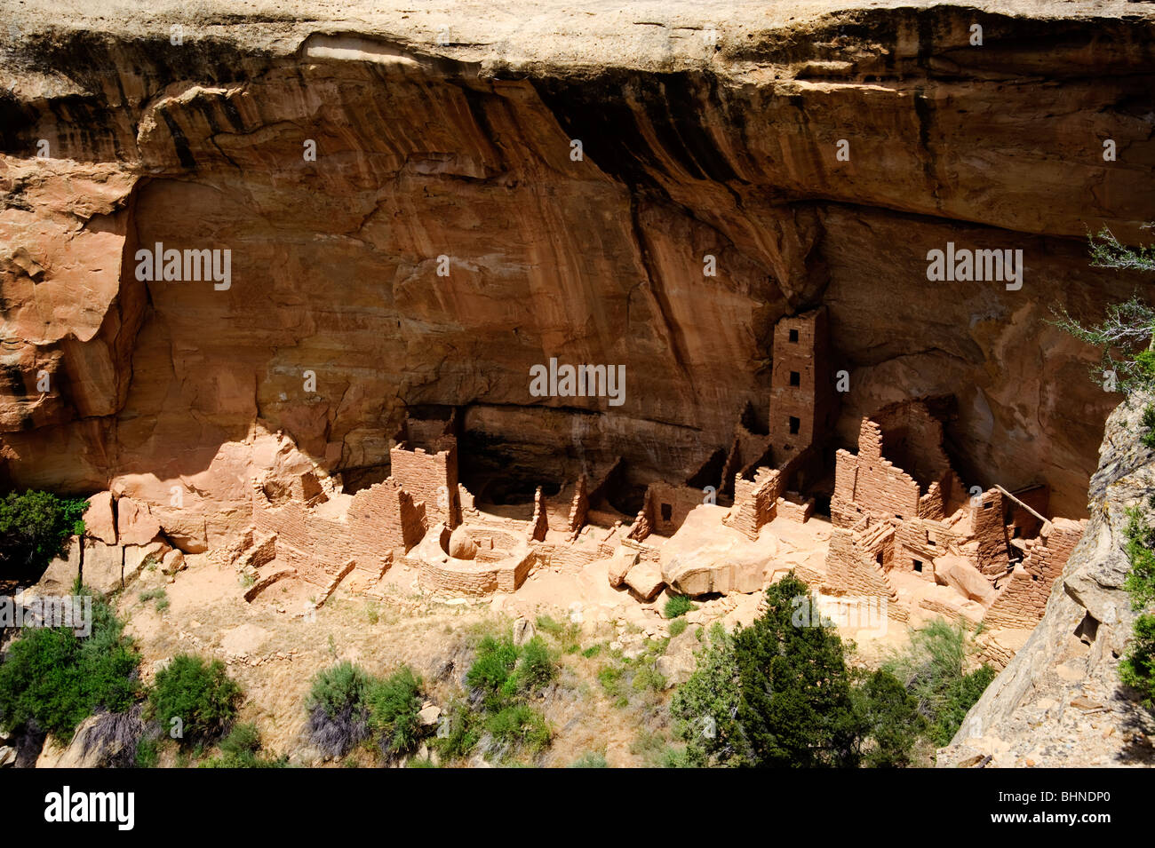Mesa Verde Indian Ruins, Cliff dwellers ancient homes in Mesa Verde National Park. - Stock Image