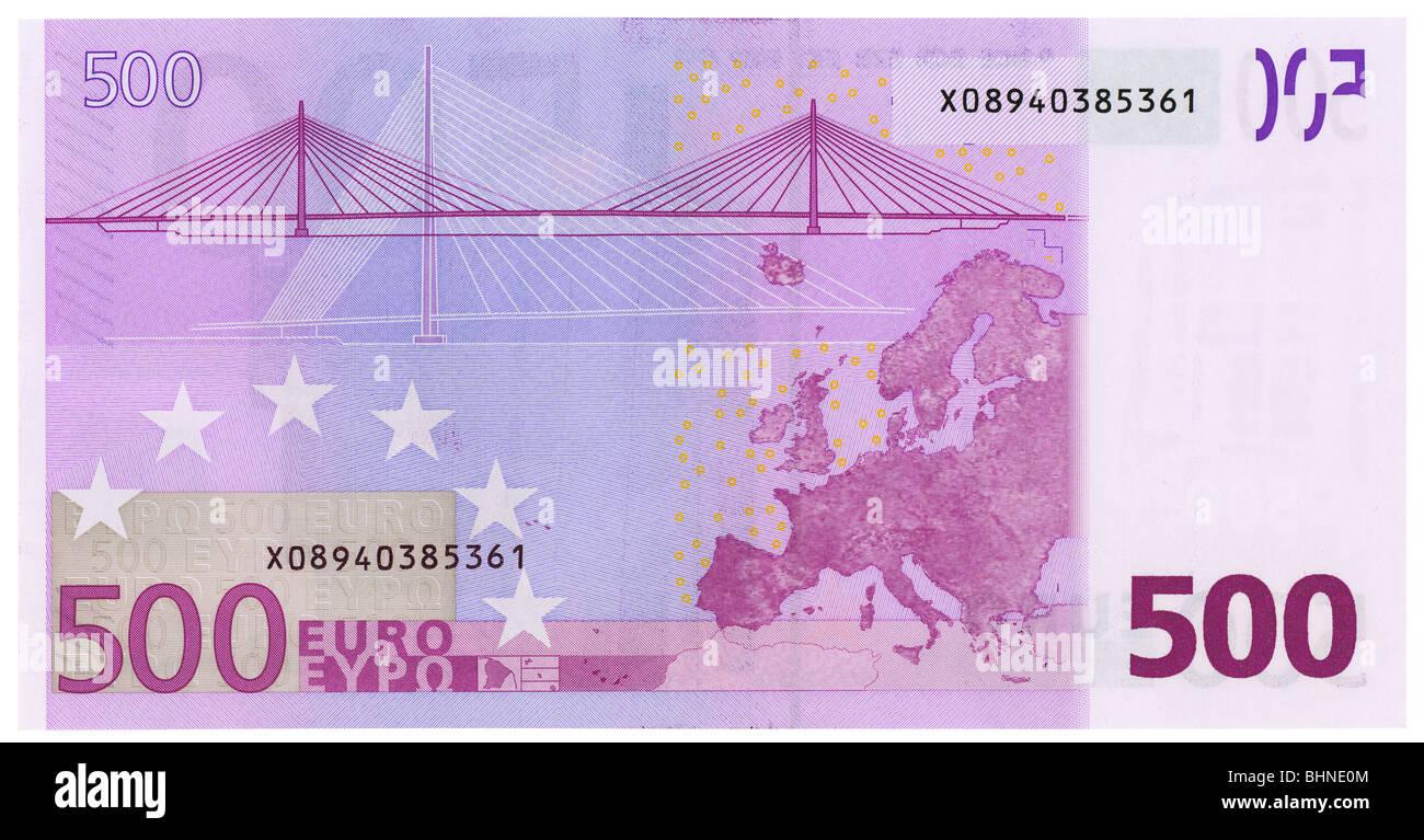 500 euro banknote back side plain flat. NATIVE SIZE, NOT UPSCALED - Stock Image