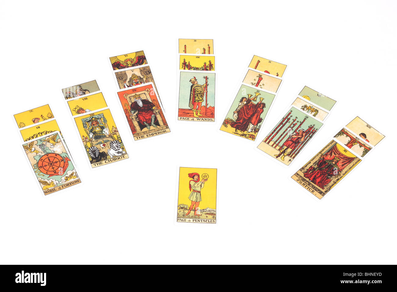 A tarot reading using the fan spread with 22 cards Stock