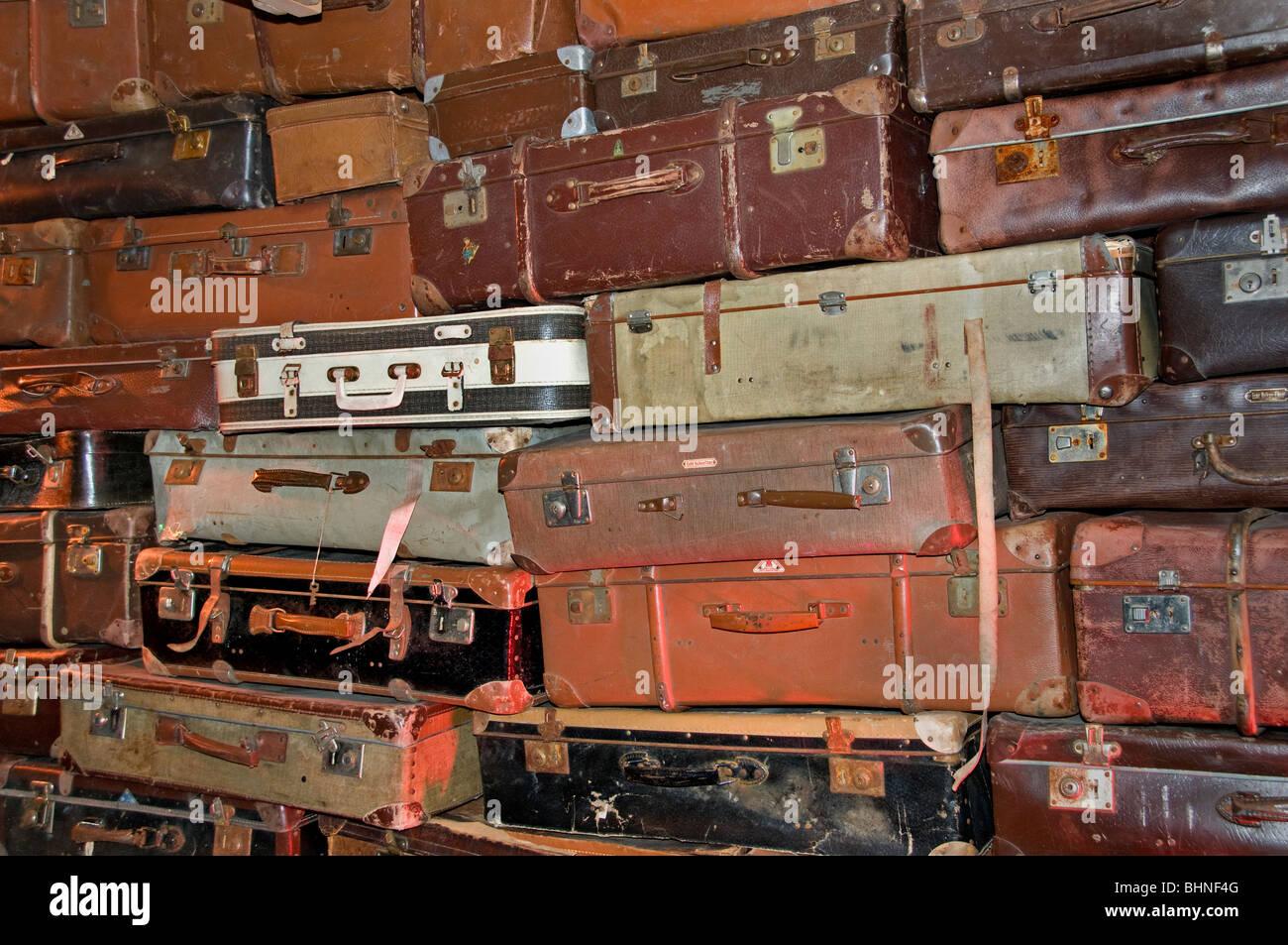 Marche aux Puces de Saint Ouen flea market Paris suitcase bag trunk swap travel holiday - Stock Image