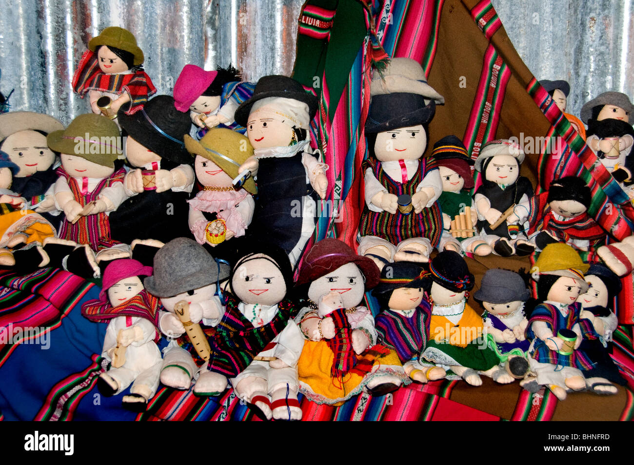 Flea market Mixture of South and central American Doll puppet dummy girl girls dolls puppets - Stock Image