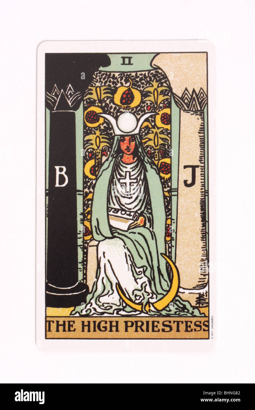 The High Priestess card from a traditional tarot pack. - Stock Image