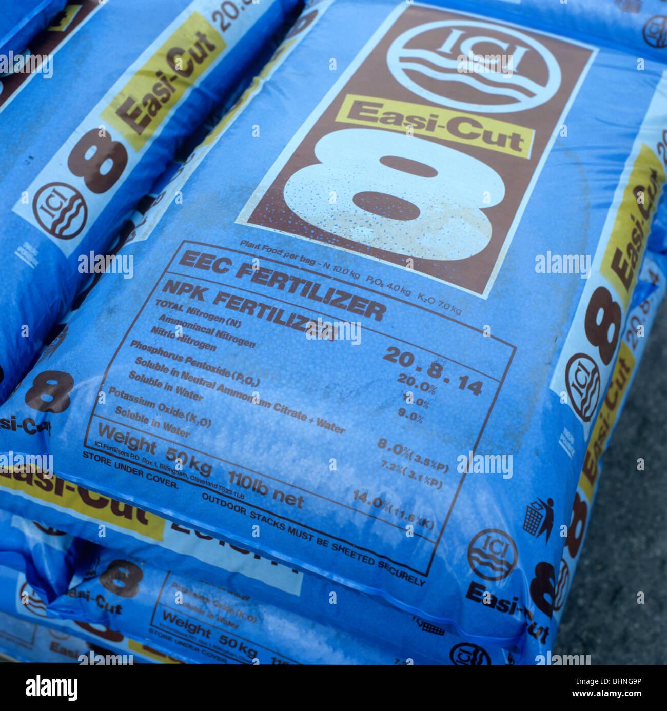 Plastic bag of N P K fertilizer used for agricultural crops - Stock Image