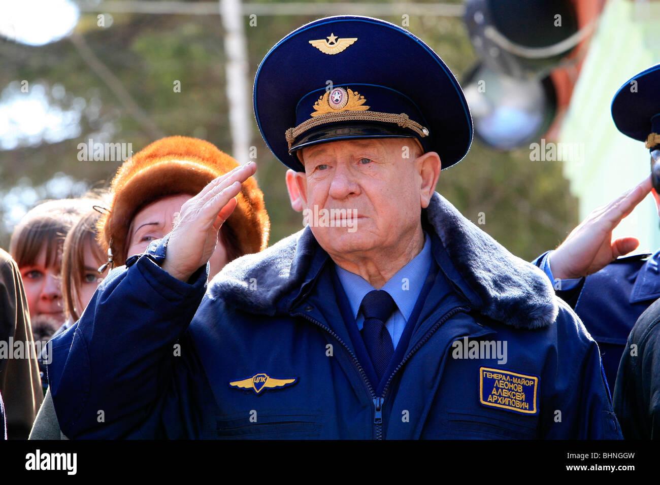 Soviet/Russian cosmonaut Alexey Leonov saluting whilst