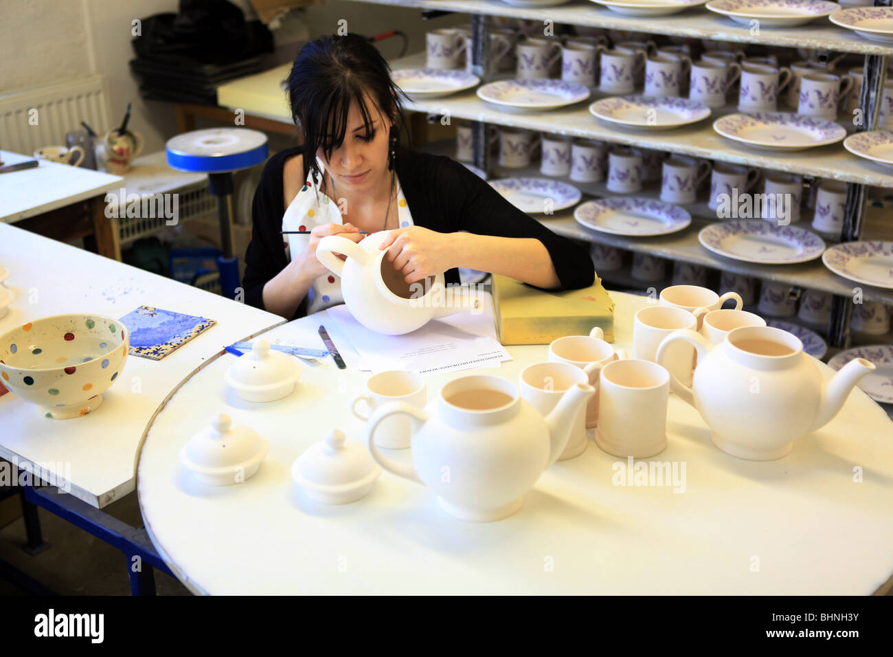 Emma Bridgewater,pottery,Stoke on Trent,polka dot Stock Photo