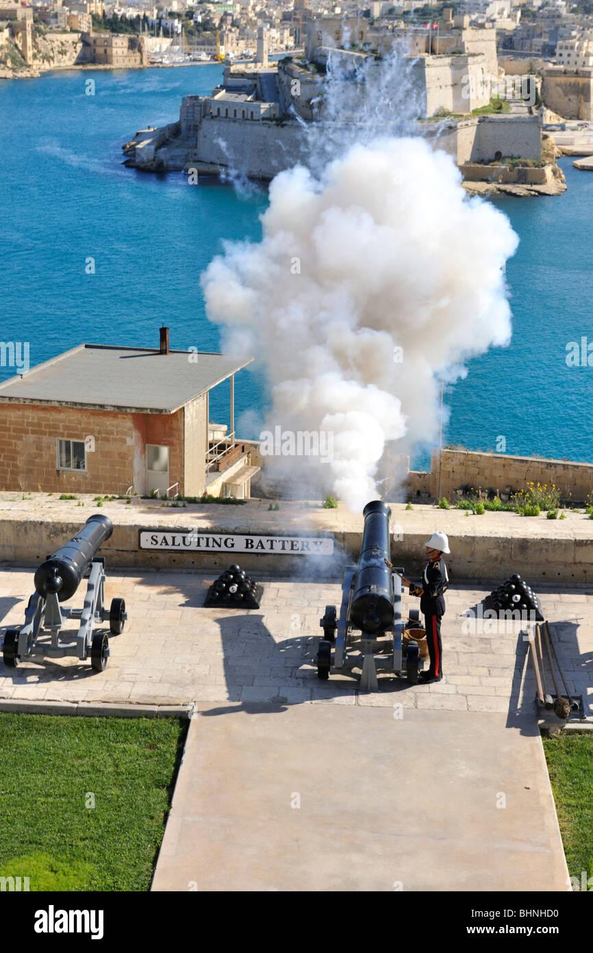 Noon Day gun firing, Saluting Battery, Valletta - Stock Image