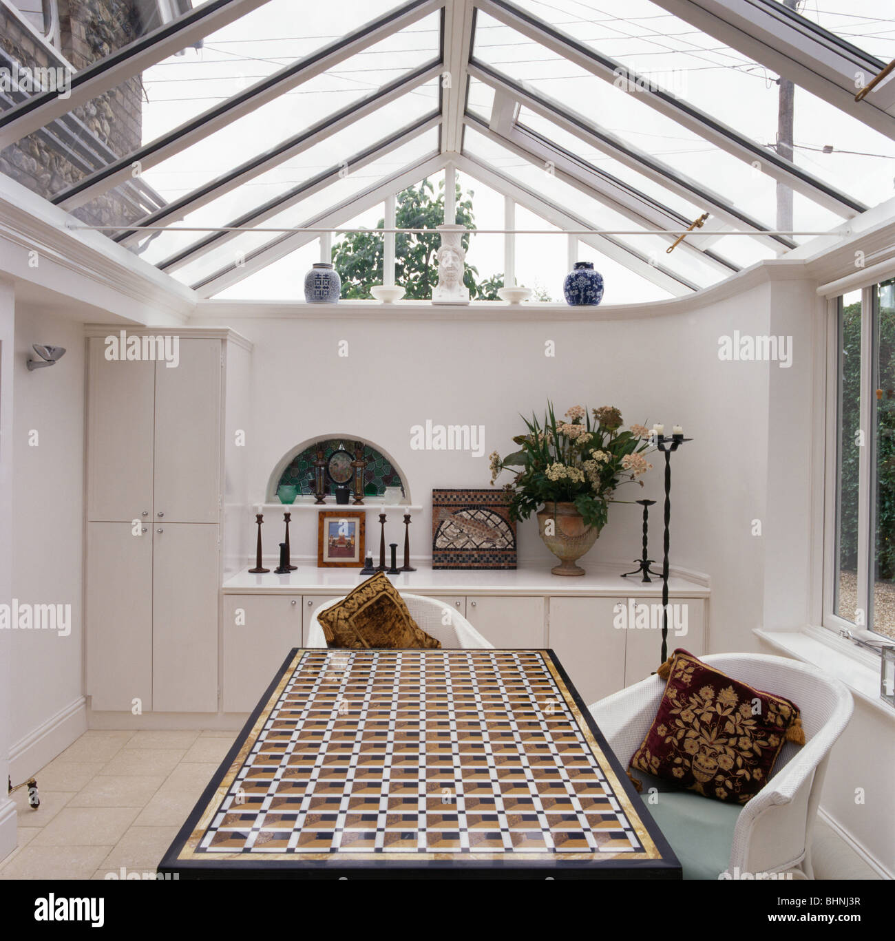 Table With Patterned Top In Dining Room Extension Glass Roof