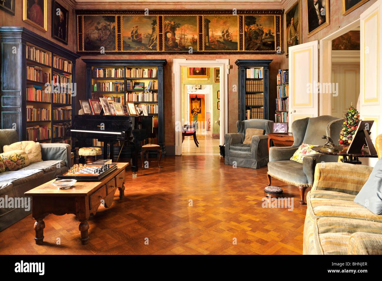 Library, Casa Rocca Piccola Valletta Malta - Stock Image