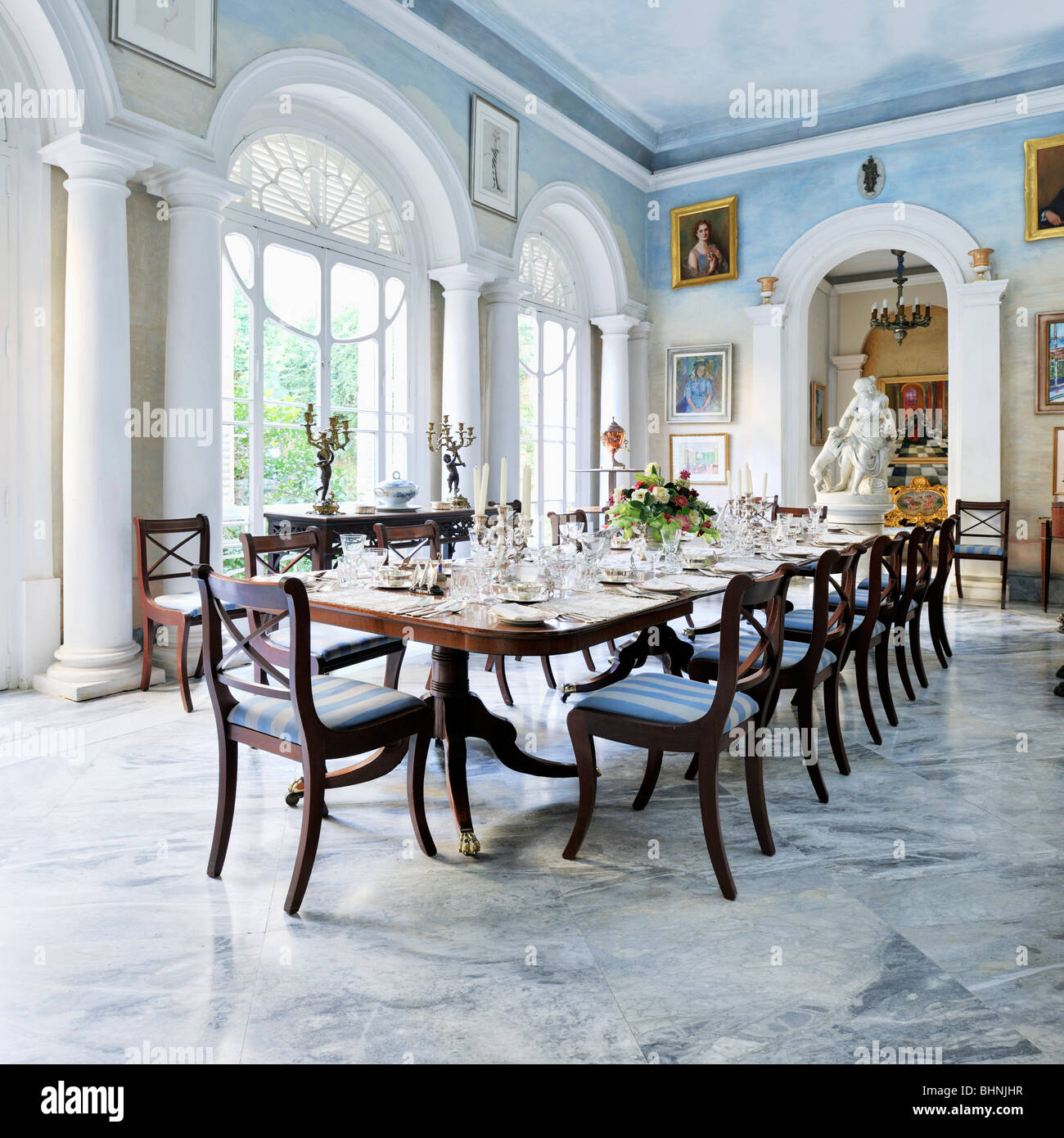 Summer dining room, Casa Rocca Piccola - Stock Image