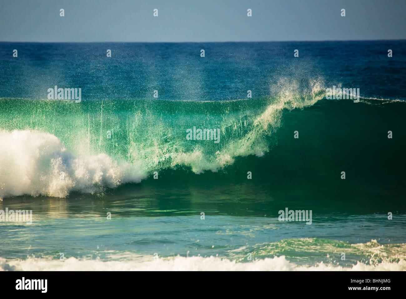 Breaking wave in green water at El lloret in Gran Canaria - Stock Image