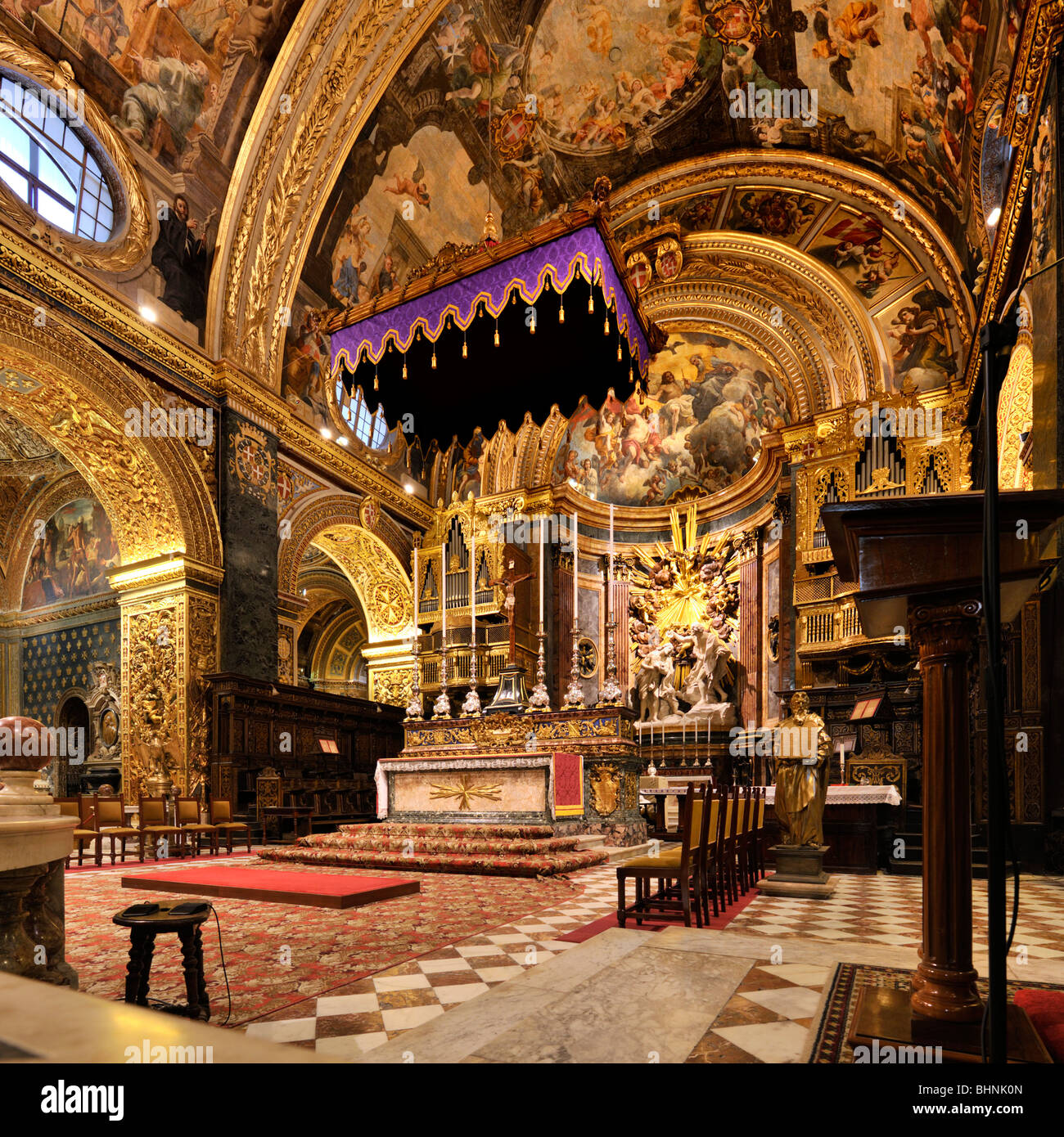 Altar, St Johns Co Cathedral, Valletta - Stock Image
