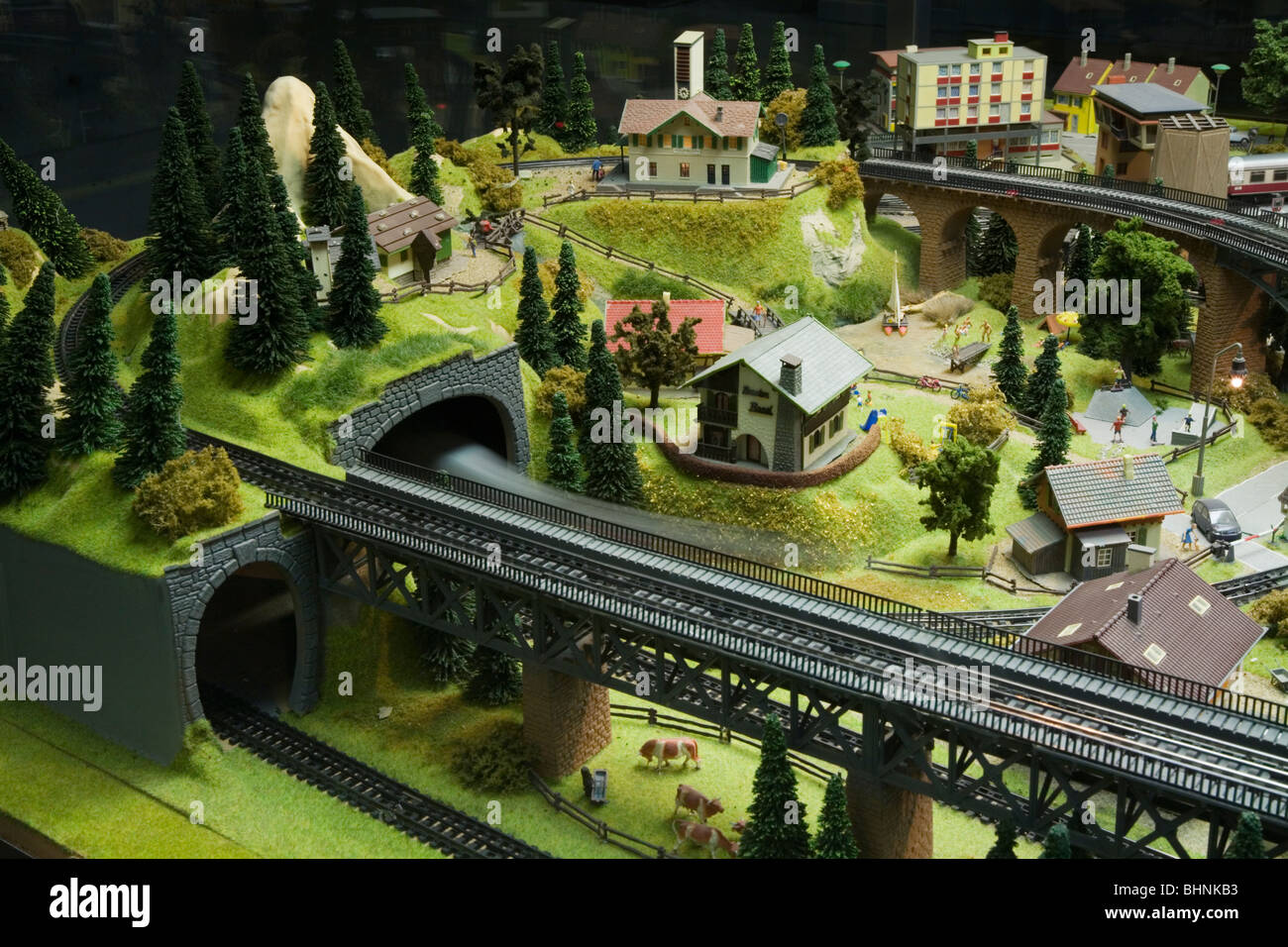HO Scale Electric Model Toy train Large scale train set. Dresden Germany - Stock Image