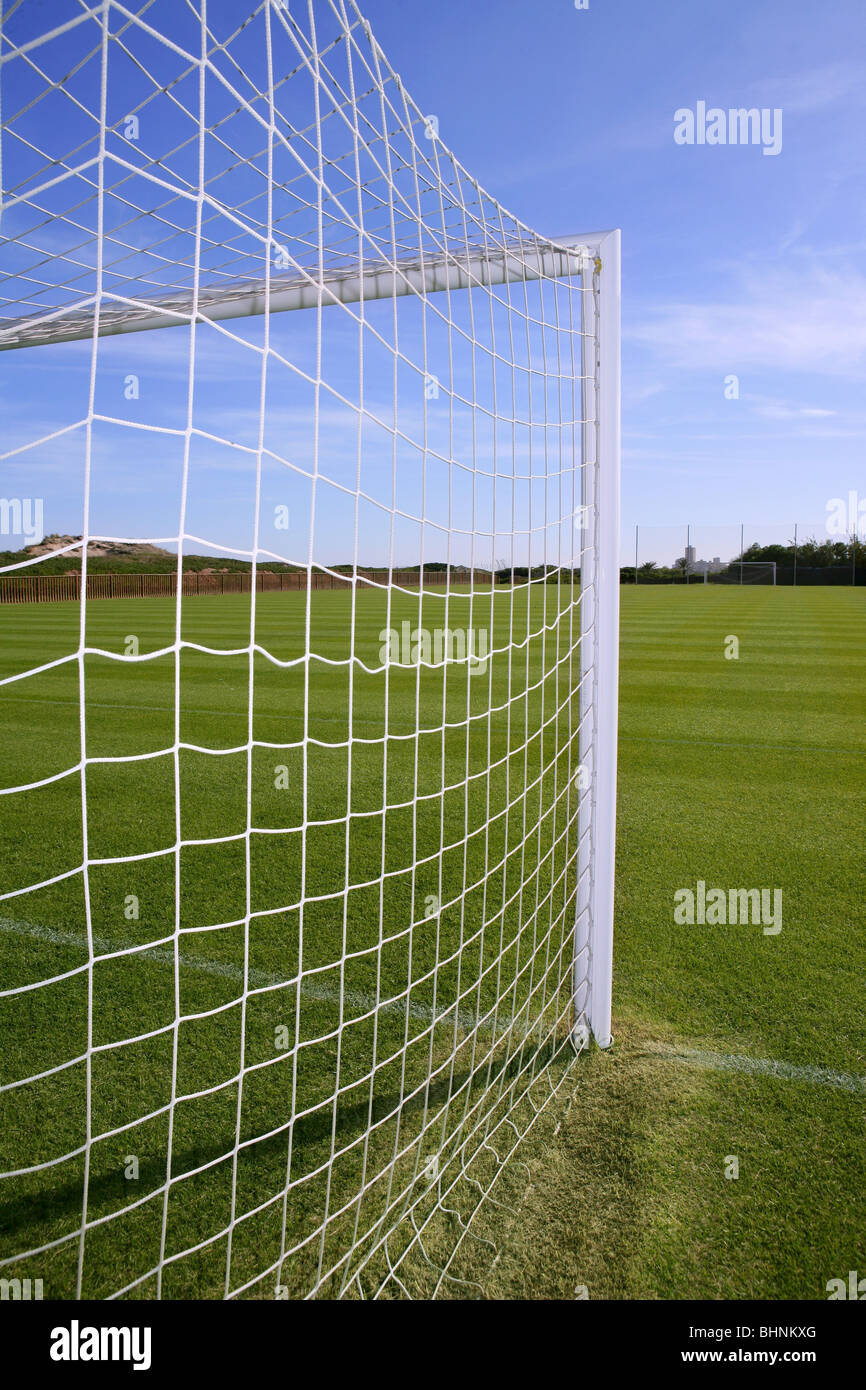 grass soccer field with goal. Net Soccer Goal Football Green Grass Field Sunny Day Outdoors With T