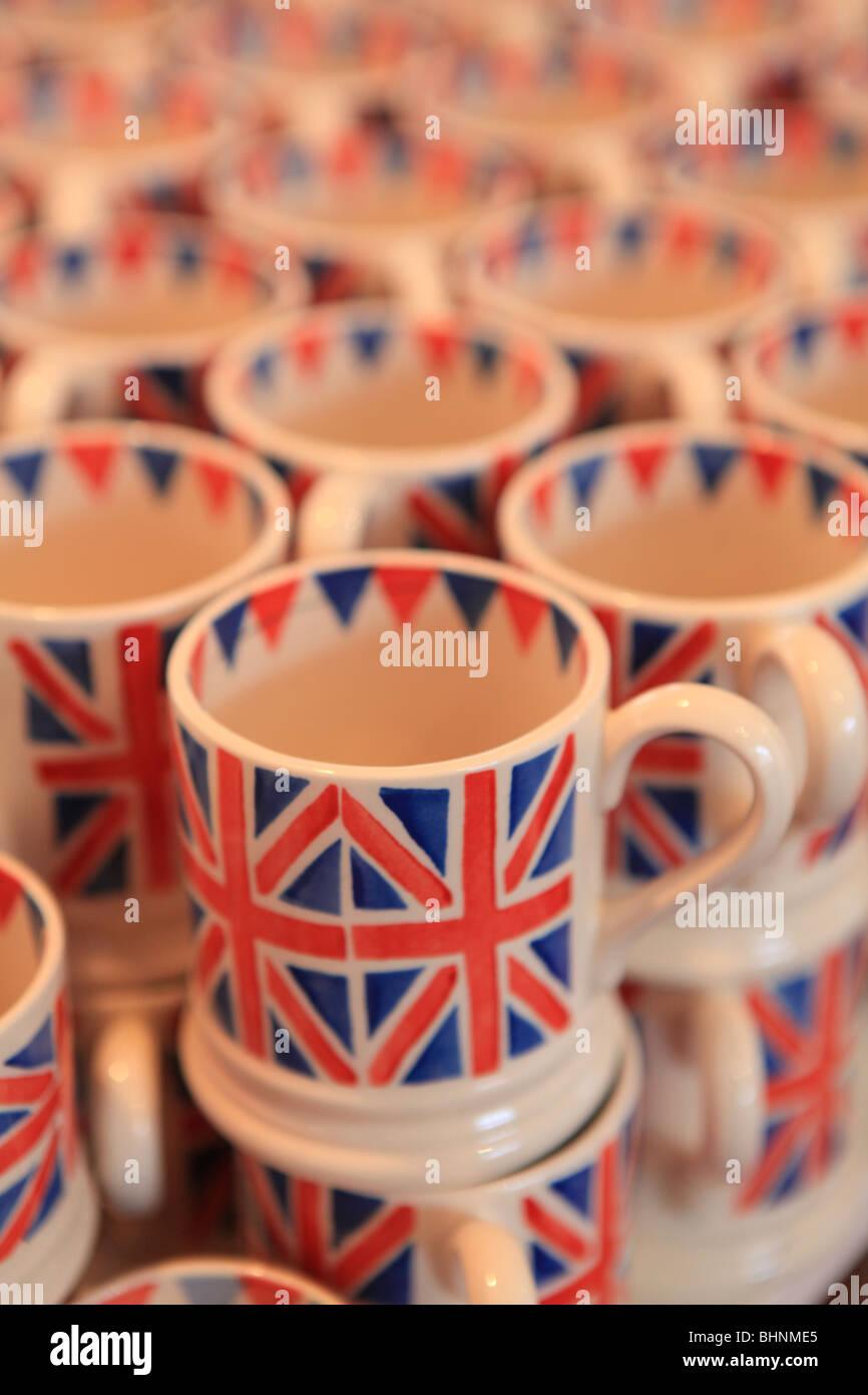 Emma Bridgewater pottery Union Flag mugs - Stock Image
