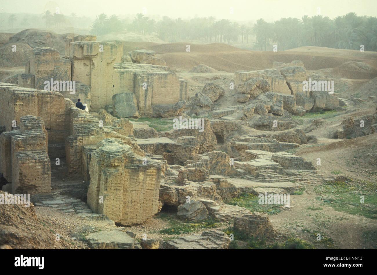Ancient mud brick ruins of Babylon Mesopotamia Hilla Iraq Stock Photo