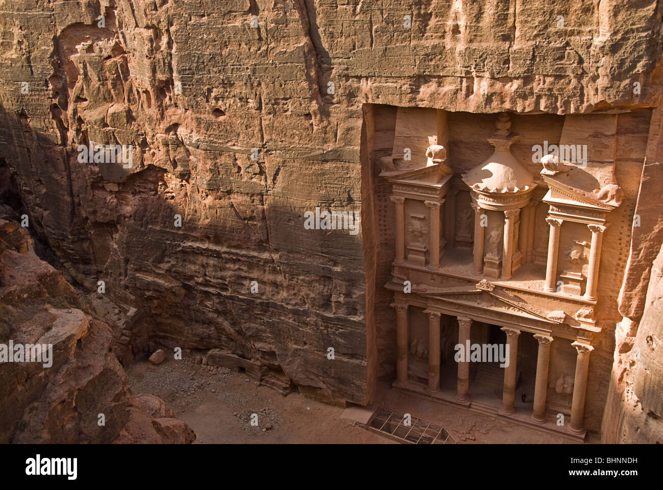 View of the Treasury from the top, Petra, jordan, Asia. - Stock Image