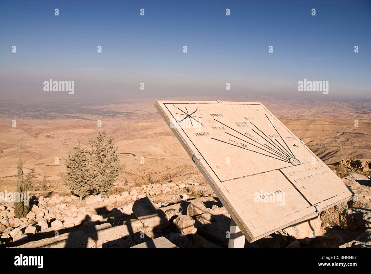 Sign board pointing to the promised land at mount Nebo, Jordan, Asia. - Stock Image