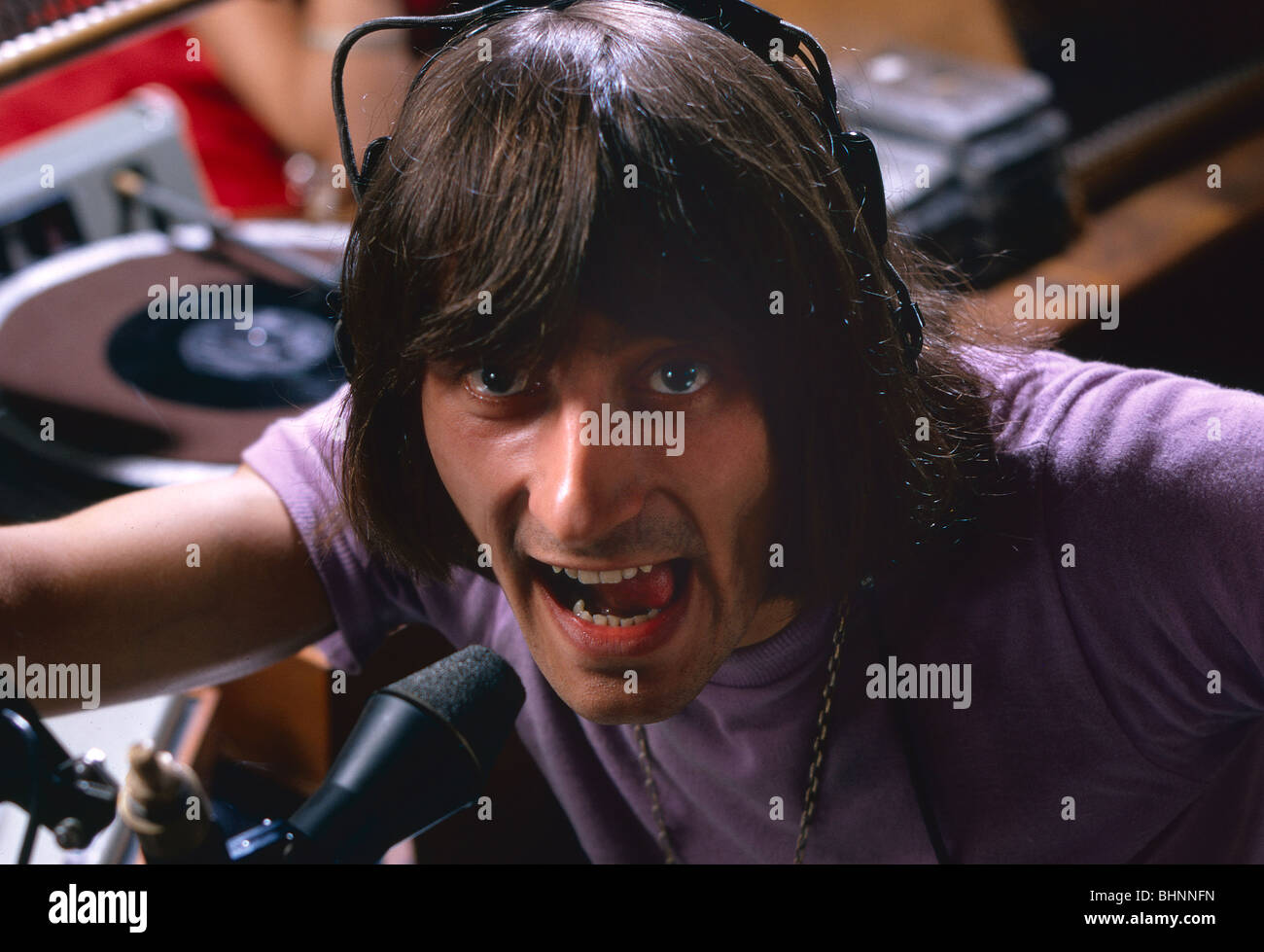 Stuart Henry disc jockey at BBC radio 1 studios London 'Swinging 60s' - Stock Image