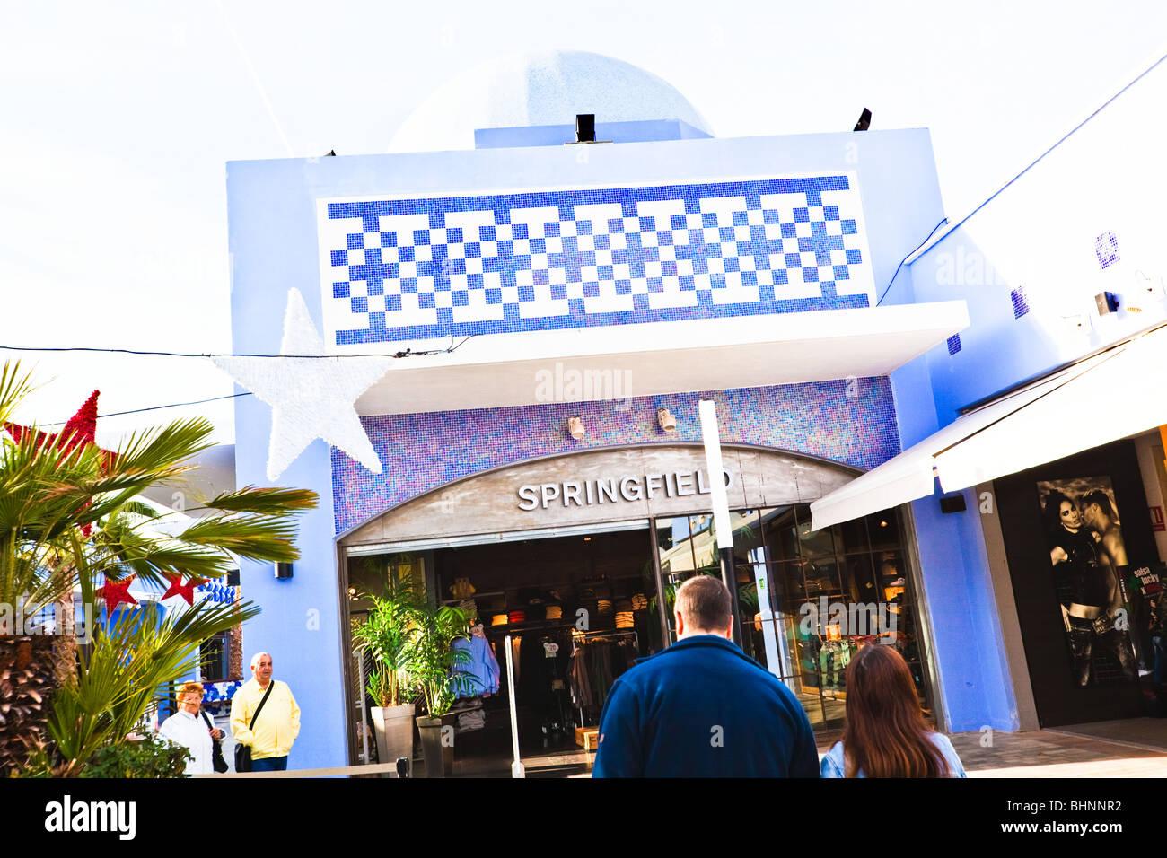 Entrance to Springfield shop at Plaza Mayor shopping centre, Malaga, Costa del Sol, Spain. - Stock Image