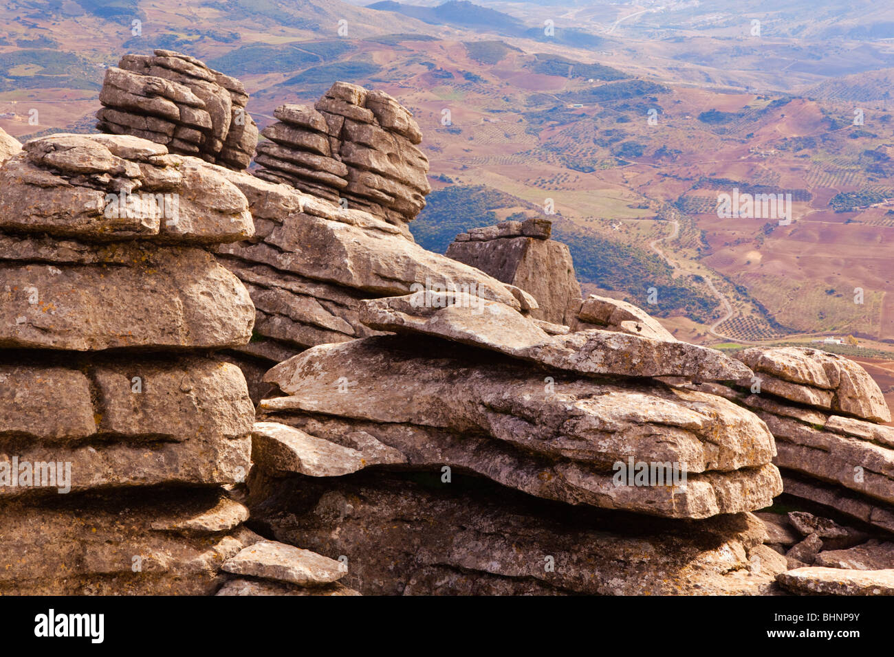 Karstic rock formations in El Torcal Park Nature Reserve near Antequera, Spain. - Stock Image