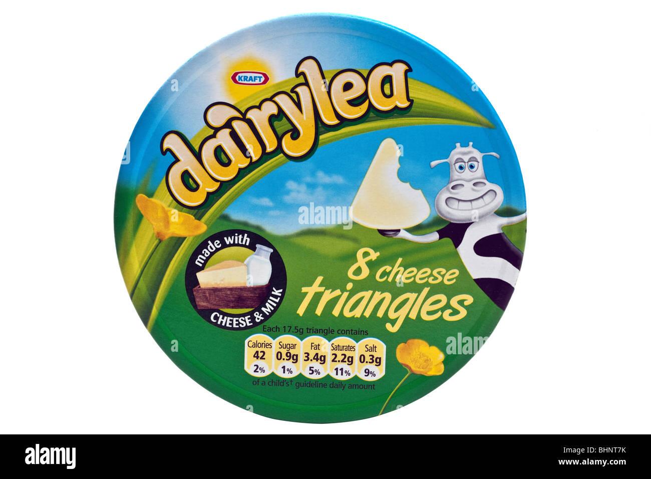 Dairylea 8 soft cream cheese triangles - Stock Image