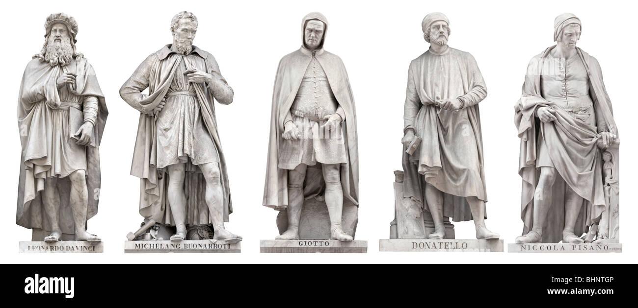 Italian Renaissance Great Artist statues outside Uffizi, Florence, Italy. Da Vinci, Michelangelo, Giotto, Donatello, Stock Photo