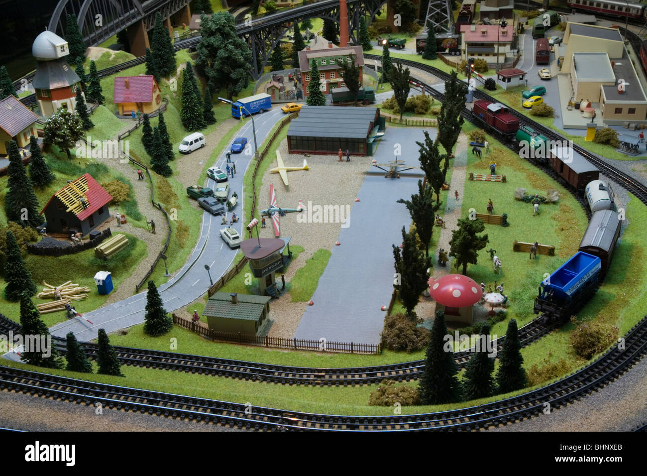 HO Scale Electric Model Toy train Large scale train set. Dresden Germany Stock Photo