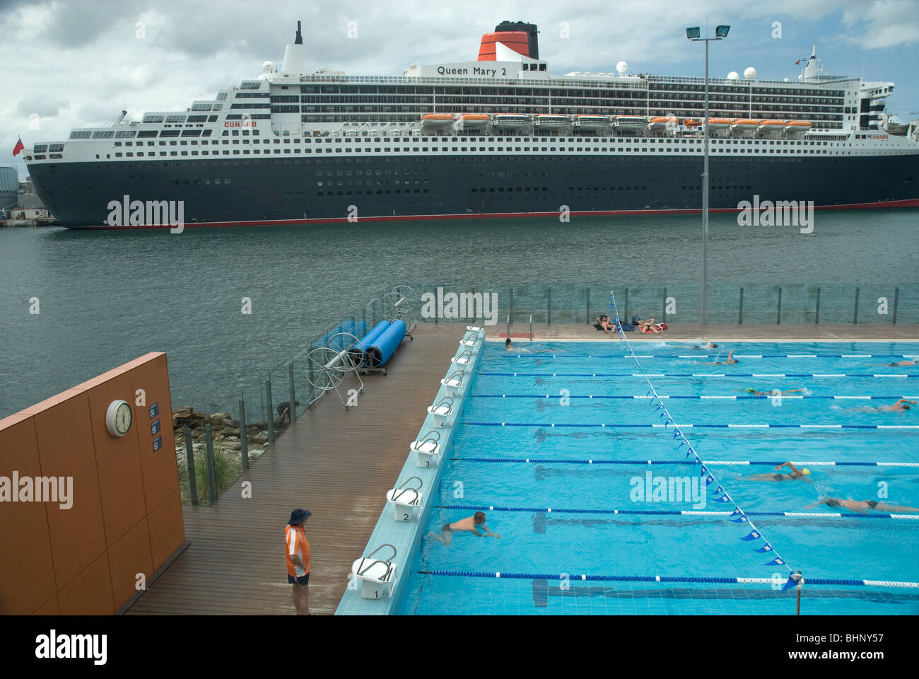 Berthed docked ship stock photos berthed docked ship - Queen mary swimming pool victoria ...