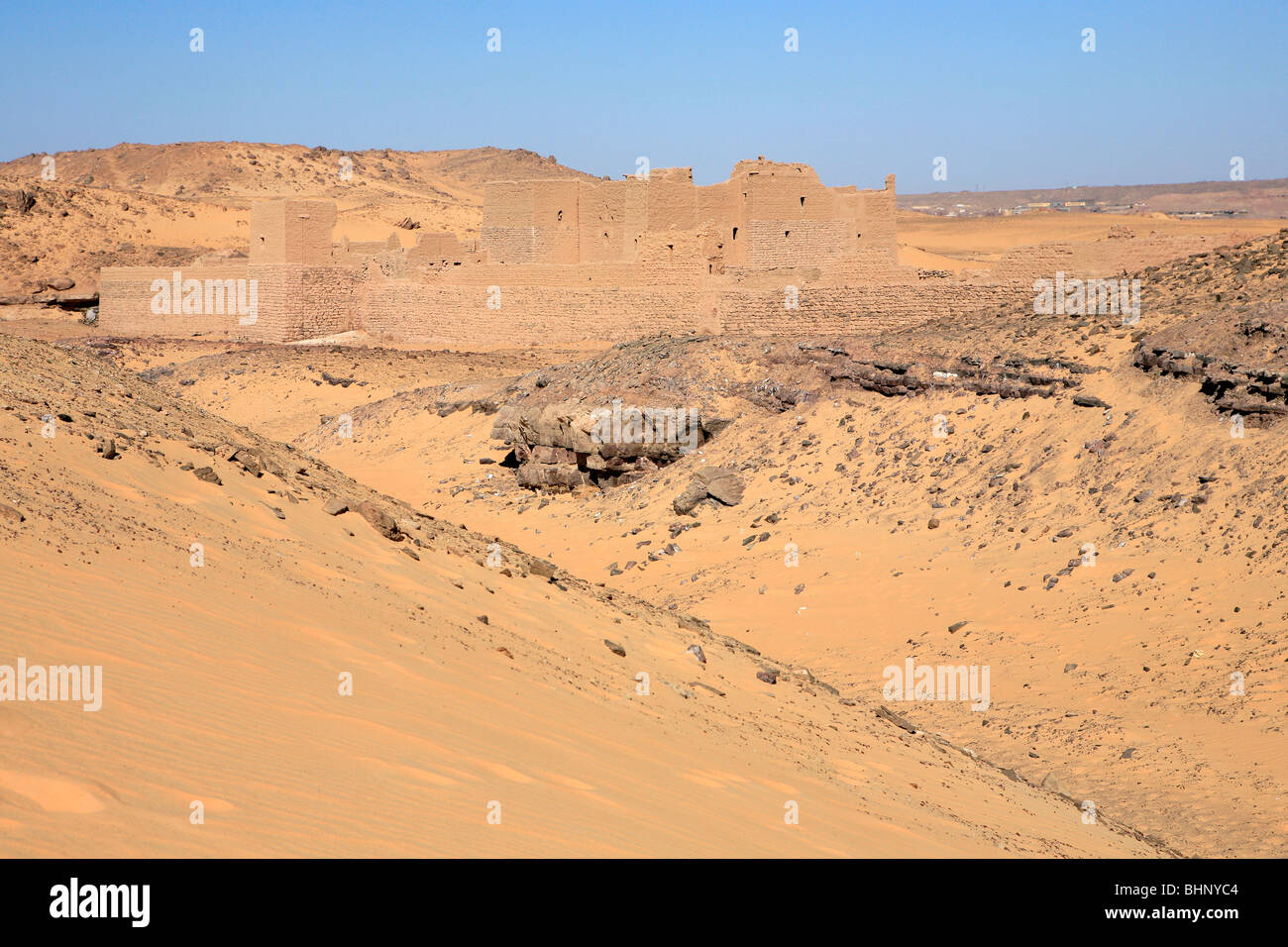 Monastery Of Saint Simeon in the middle of the desert on the west bank of Aswan, Egypt - Stock Image