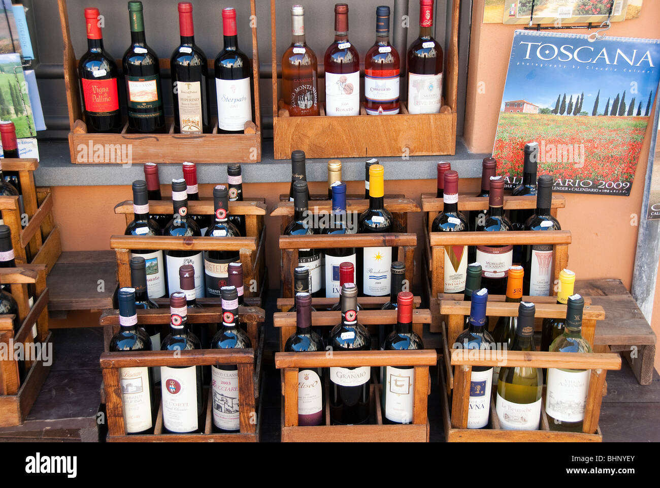 Wine for sale in the Tuscan town of Montaione, Italy Stock