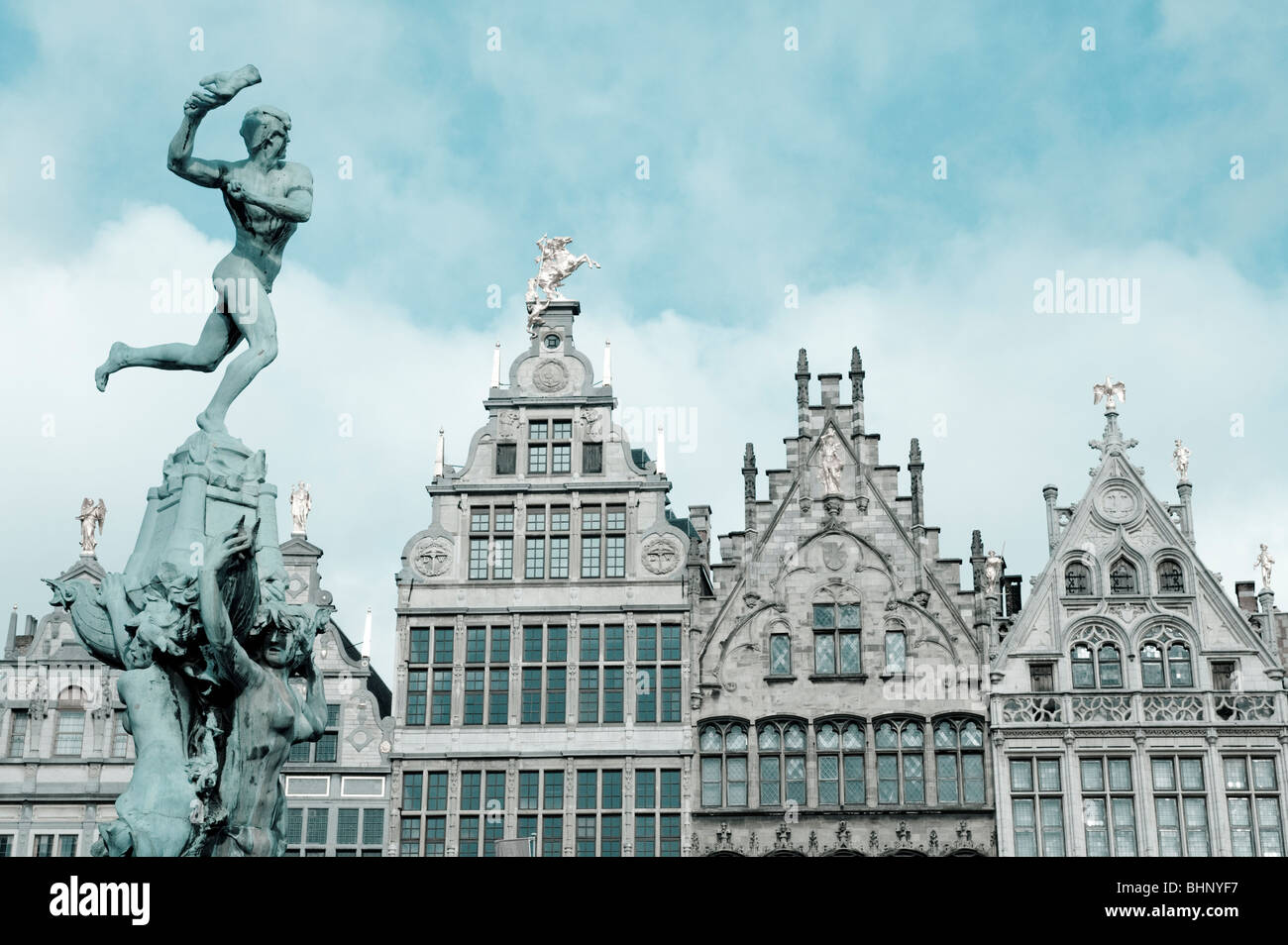 Antwerp; Brabo Fountain and historic buildings in Grote Markt square in Antwerp Belgium duo tone Stock Photo