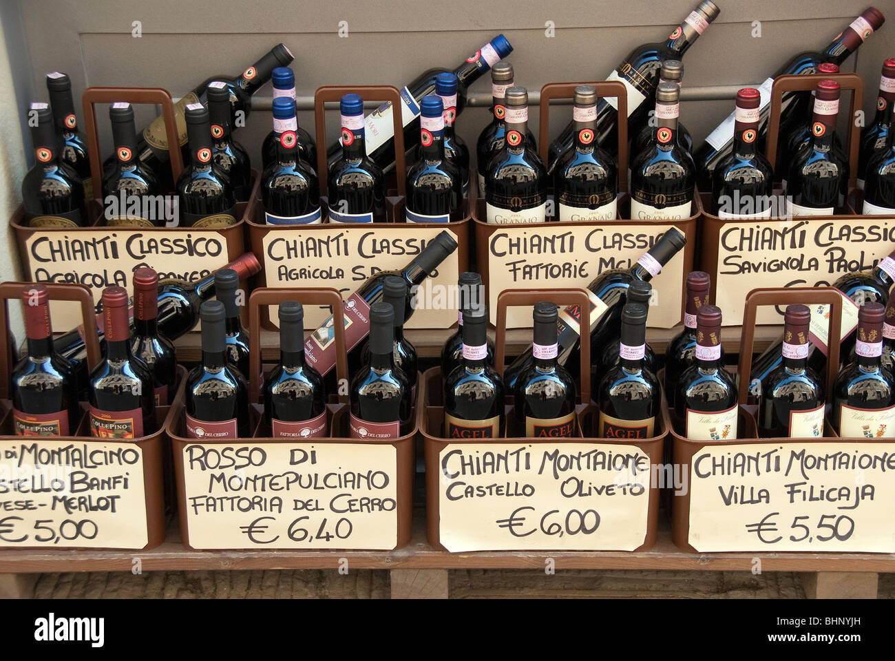 Wine for sale in the Tuscan town of Montaione, Italy Stock Photo