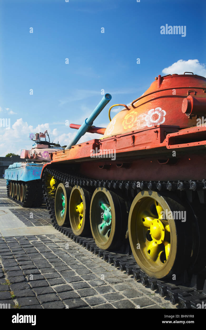Ukraine, Eastern Europe, Kiev, Brightly Coloured Tanks At Museum Of The Great Patriotic War - Stock Image