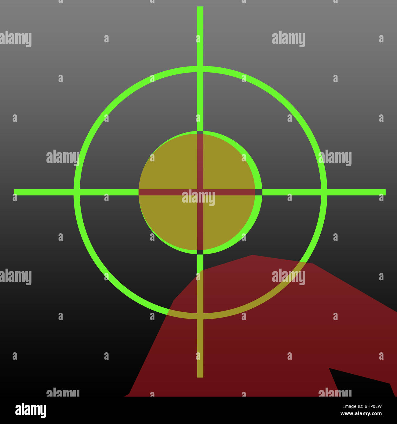 Sniper rifle night sight aiming at human head. - Stock Image