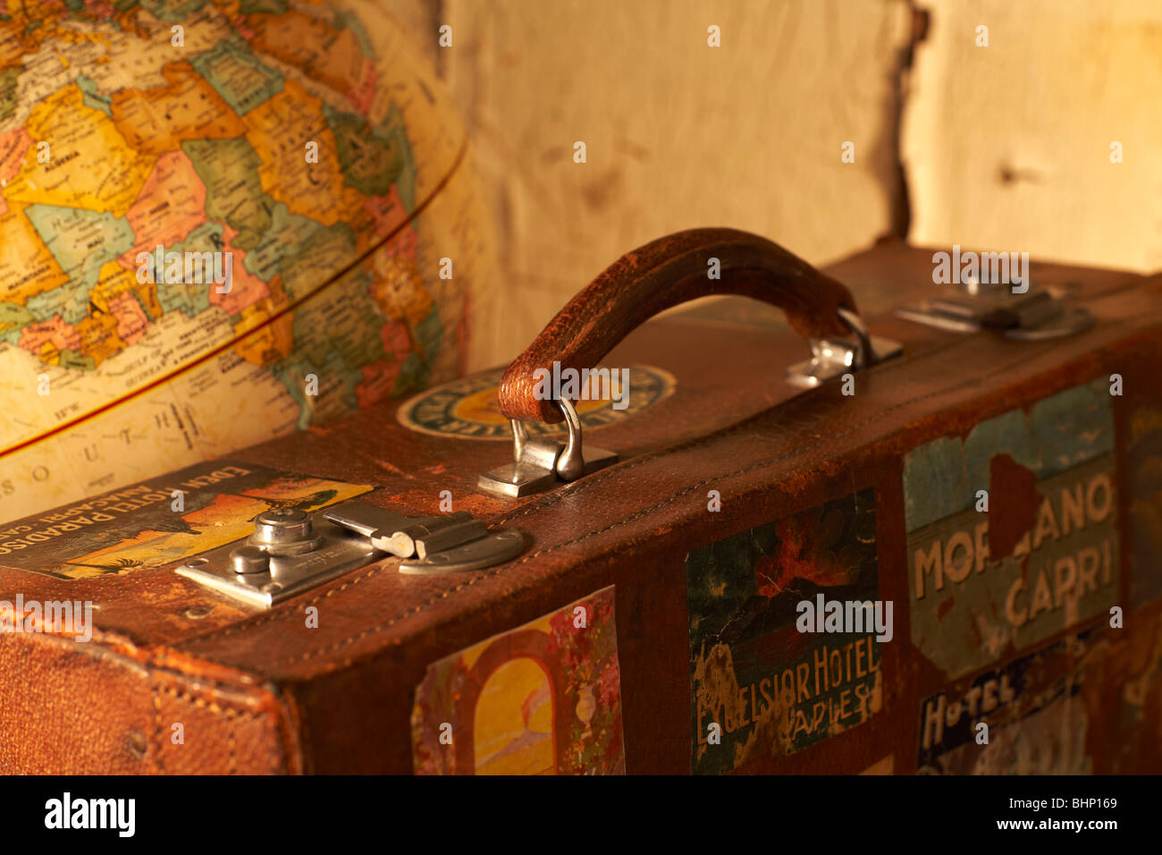 Antique globe map stock photos antique globe map stock images alamy old labeled antique suitcase next to world globe stock image gumiabroncs Choice Image
